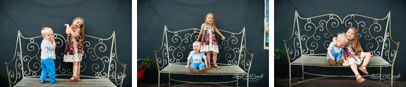 Super fun kid sibling portraits on wrought iron loveseat in Fremont, Washington by Laurel McConnell photography.