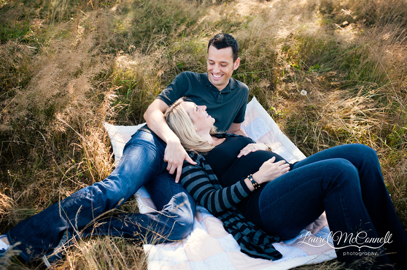 Outdoor picnic pregnancy session by Laurel McConnell Seattle Maternity and Newborn Photographer.