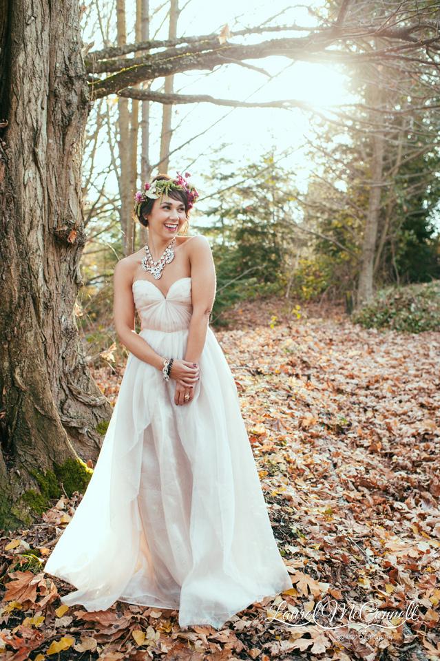 sarah-seven-blush-wedding-gown-bride-forest