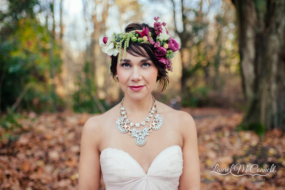 floral crown blush wedding gown