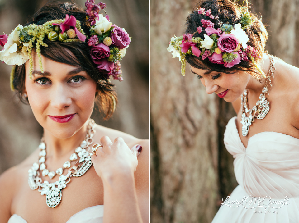 fashion bridal photography of pink rose flower bridal crown and statement necklace