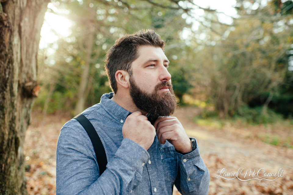 hipster groom with chambray shirt and suspenders