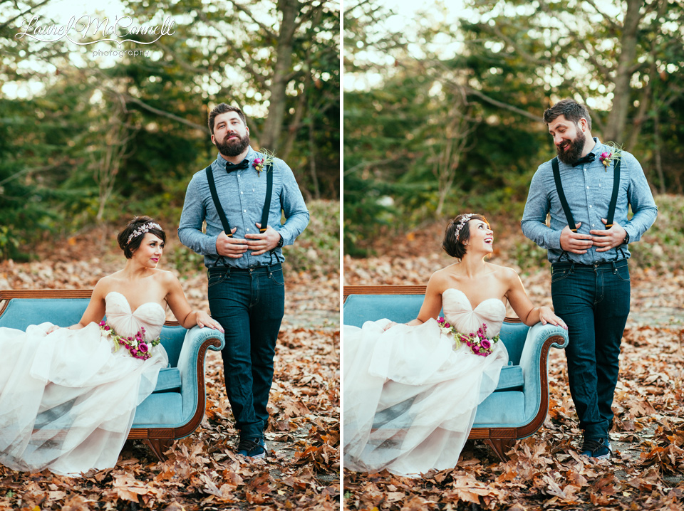 bride blush dress groom suspenders teal couch
