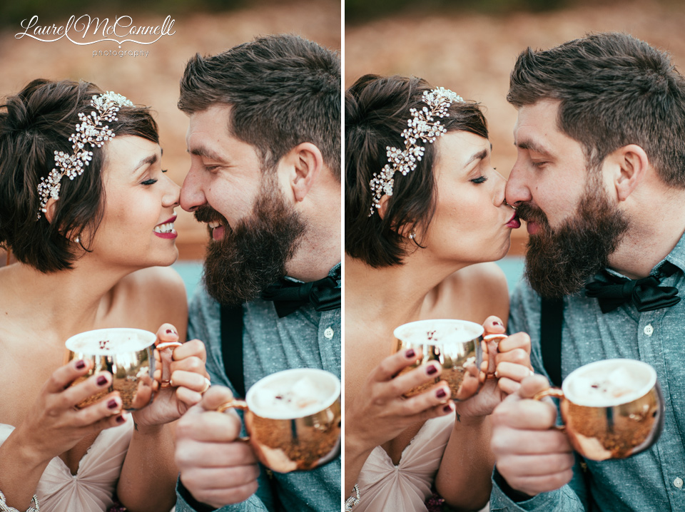 gold mugs and hot chocolate with wedding couple
