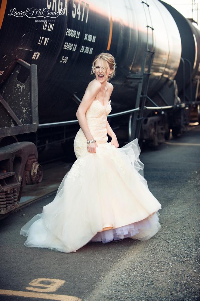 Bridal Fashion portrait peach Jim Hjelm gown.