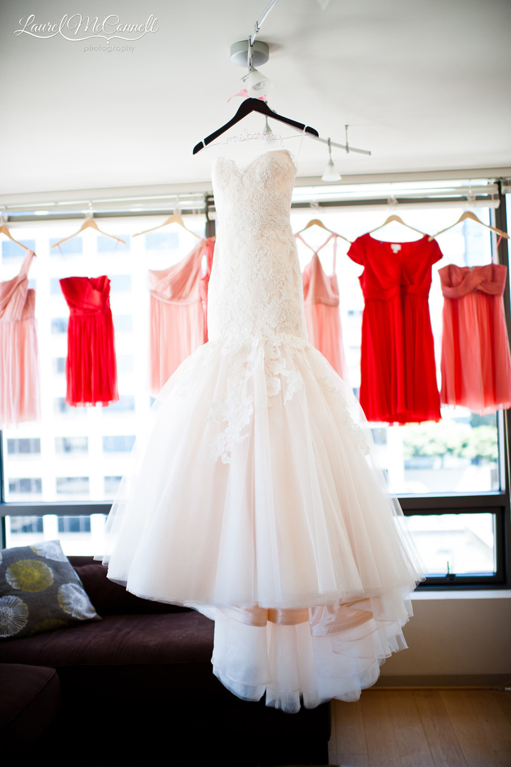 Blush Jim Hjelm wedding gown portrait.