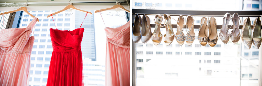 Pink, peach, blush bridemaids dresses with silver and gold shoes