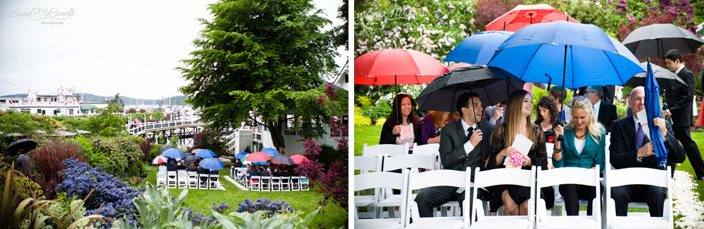 Roche Harbor rainy wedding day.