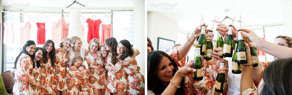Bridesmaid gift robes and champagne toast.