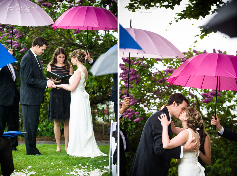 Rainy day wedding ceremony.