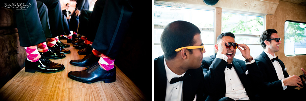 Fun photos of groomsmen and their quirky socks.