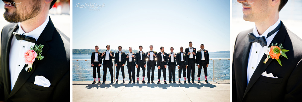 Fun groomsmen portrait with suspenders, argyle socks, and blush boutonnieres.