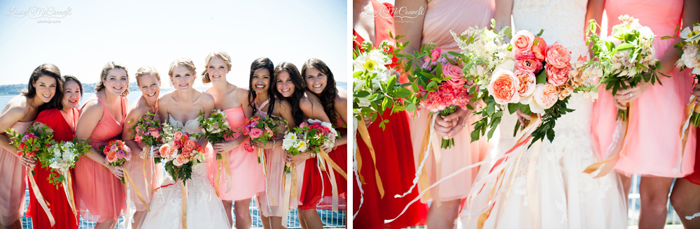 Sweet portrait of bride with bridemaids in individual style bluch, pink, and peach dresses.