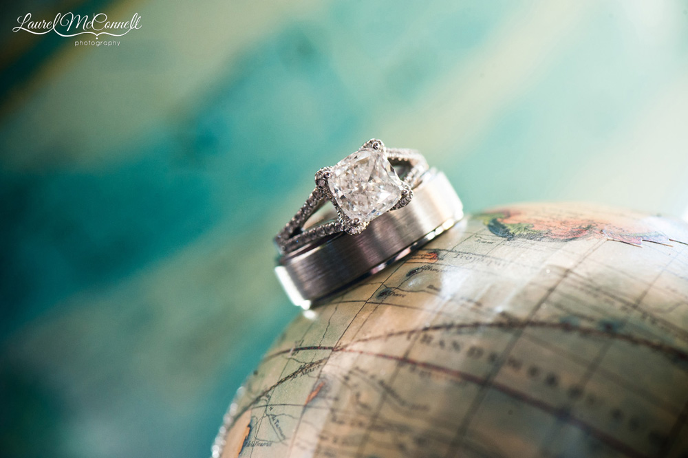 Unique ring shot on globe at travel themed wedding,