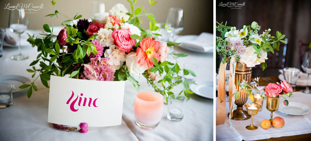 Modern floral wedding centerpiece by Seattle's Finch and Thistle.