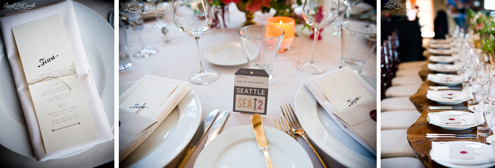 Modern wedding menu and place card designs.