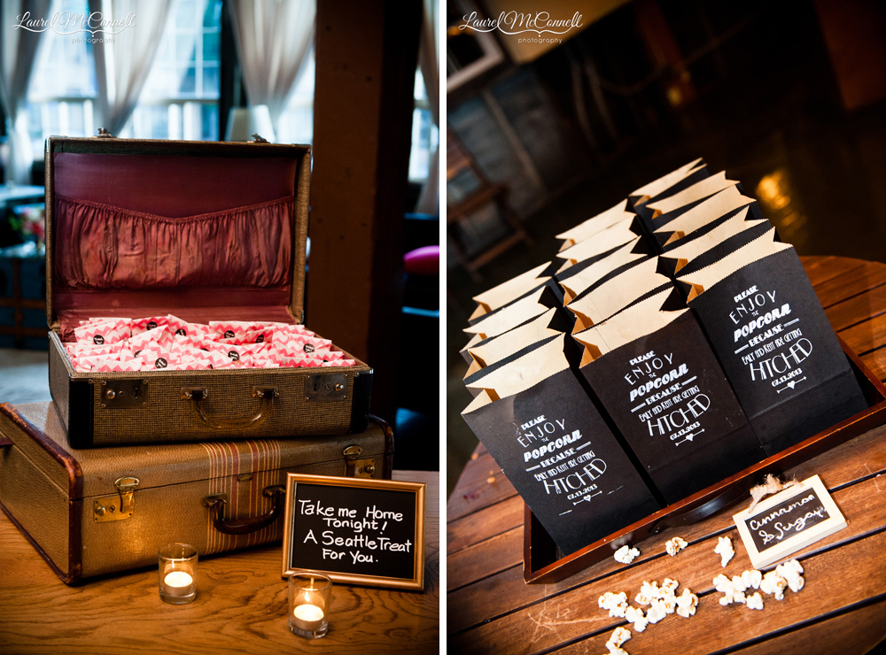 Unique coffee and popcorn wedding favors.