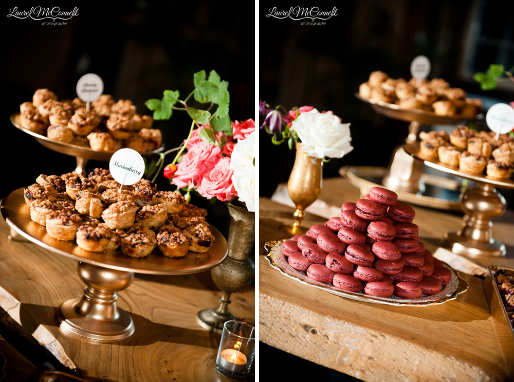 Wedding cake alternative ideas including macaroons and pie bites.
