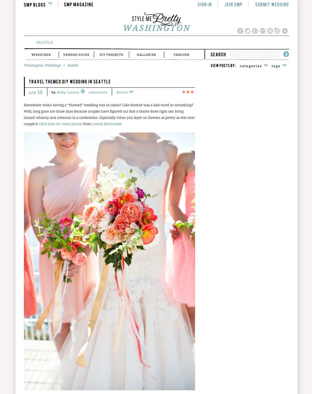 Seattle wedding feature on Style Me Pretty by Laurel McConnell Photography.
