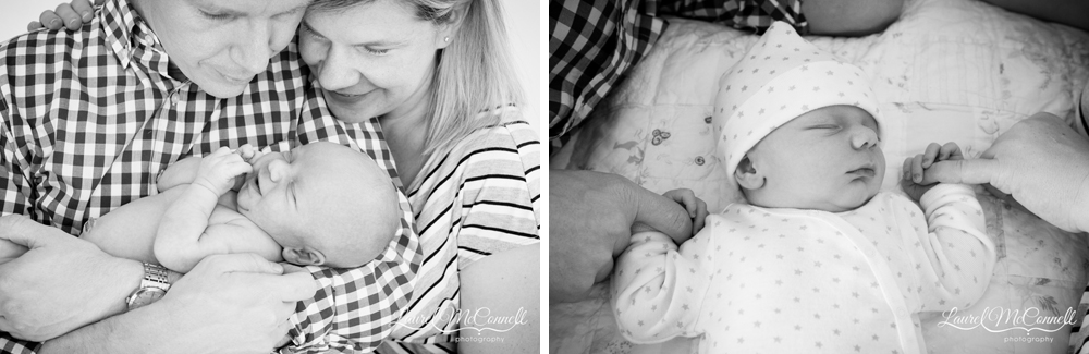 Sweet, modern newborn portrait photography.