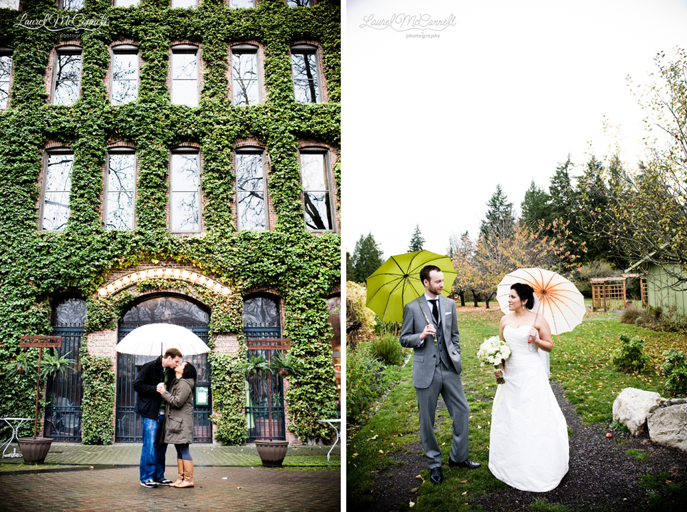 Umbrellas for couple for rainy day wedding portraits.