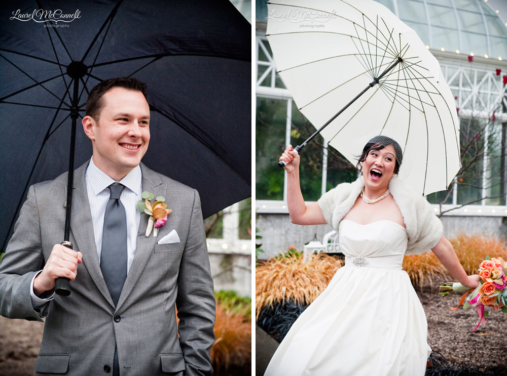 Fun bride and groom umbrella portraits on rainy wedding day outside Seattle's Volunteer Park Conservatory.