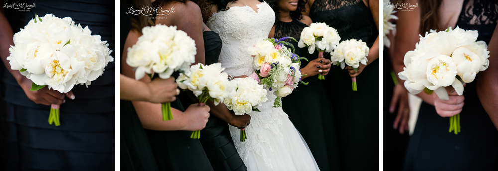 White peony bridesmaids bouquets.