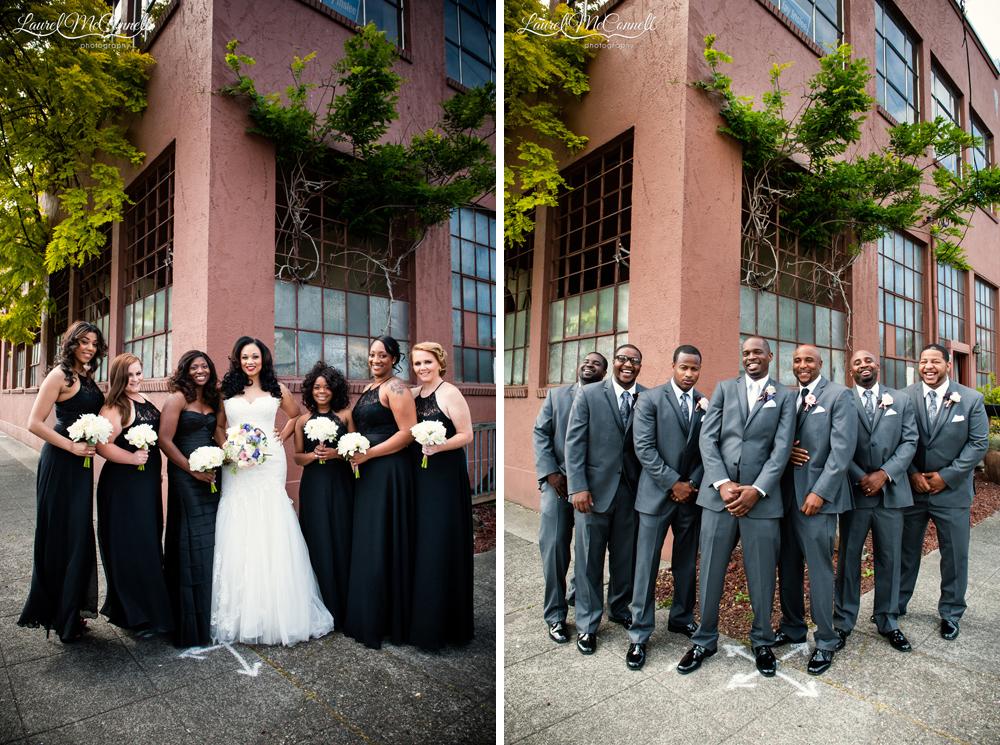 Fun bridal party wedding portraits Seattle.