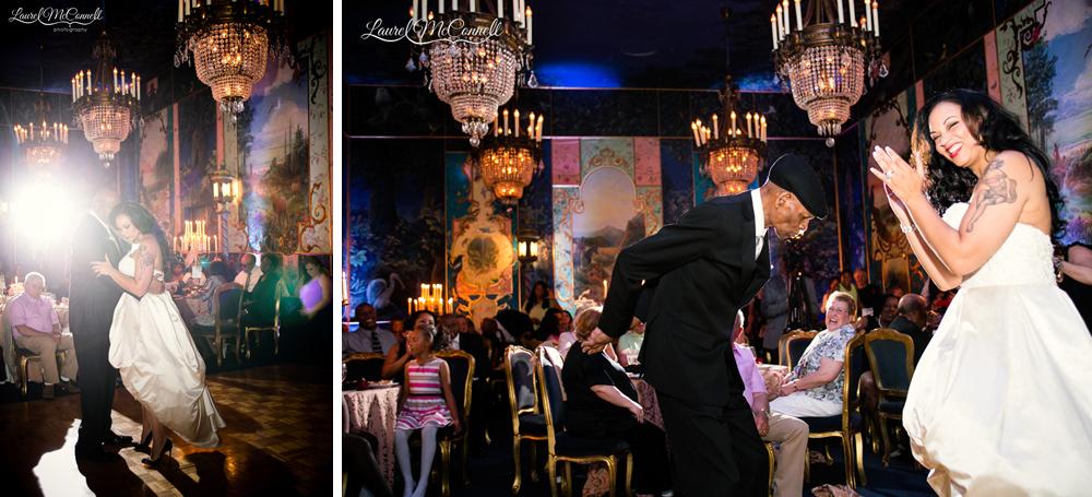 Wedding reception dancing at The Ruins wedding venue.