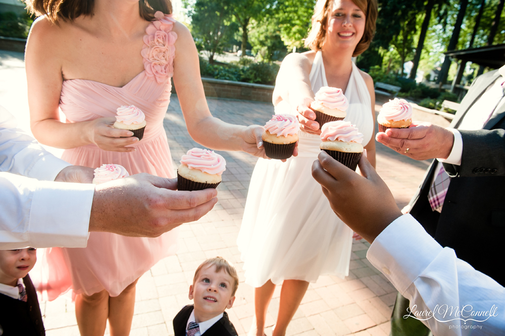 Cupcake toast captured by Seattle wedding photographer Laurel McConnell.