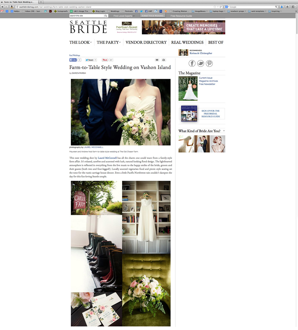 Laurel McConnell Seattle Bride Magazine online feature.