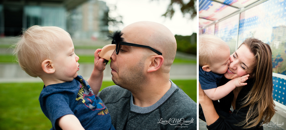 Baby boy with parents during Seattle family photographer.