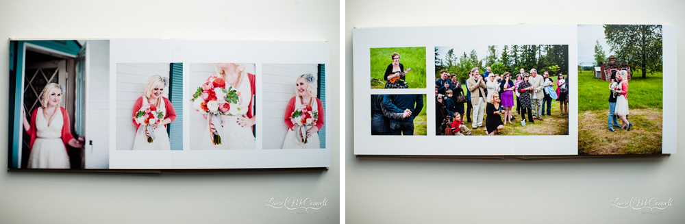 Album layouts from Seattle wedding photographer Laurel McConnell.