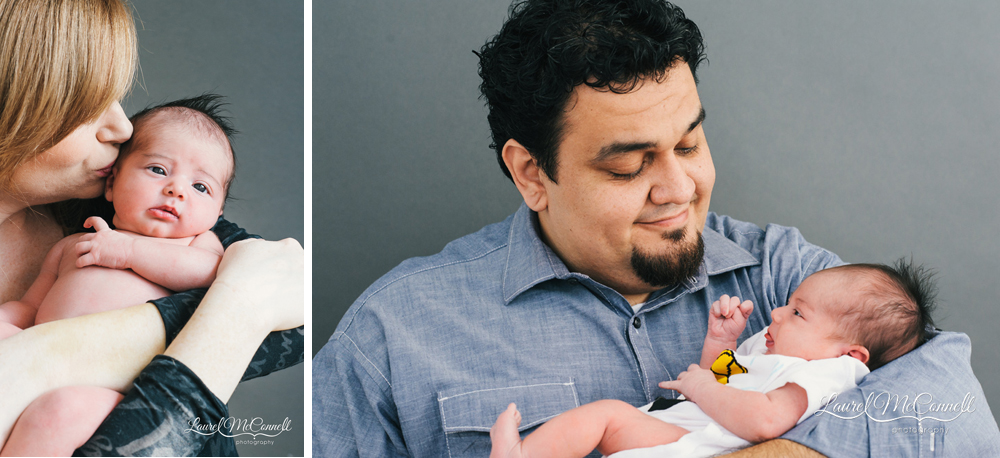 Portraits of newborn baby girl during session by Laurel McConnell.