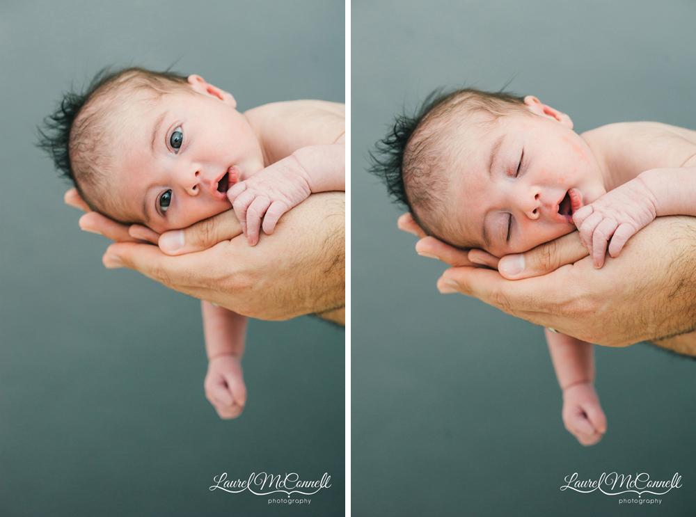 Newborn portraits of newborn cradled in dad's arms.
