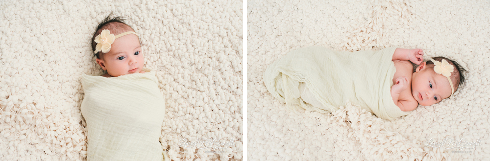 Gorgeous swaddled newborn portrait on white blanket.