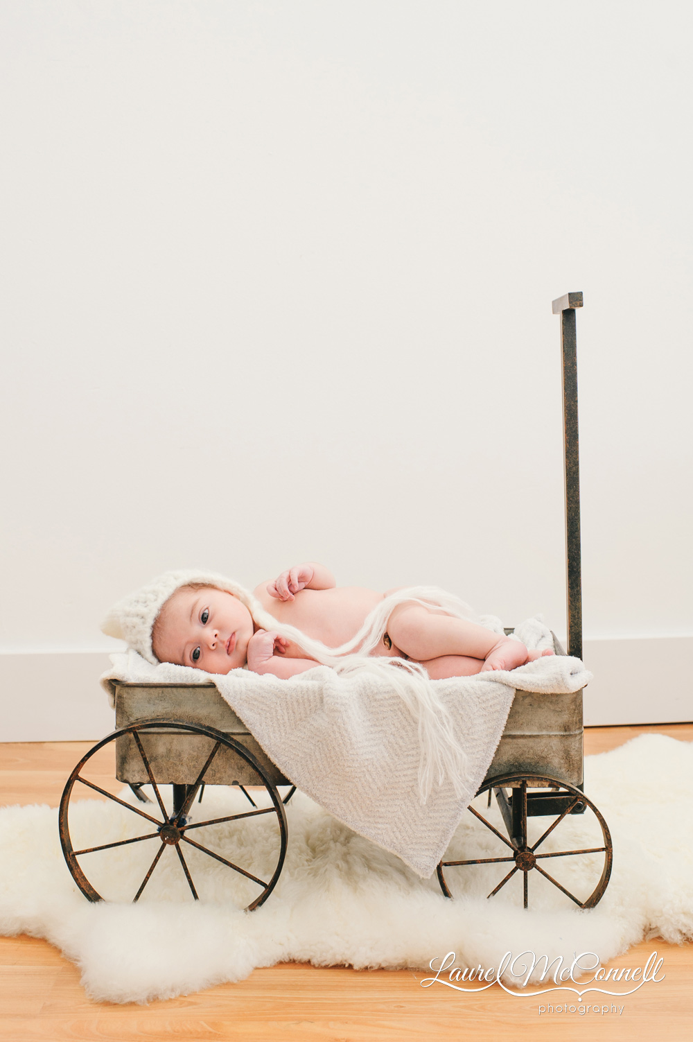 Modern newborn photo session with baby photographed in wagon.