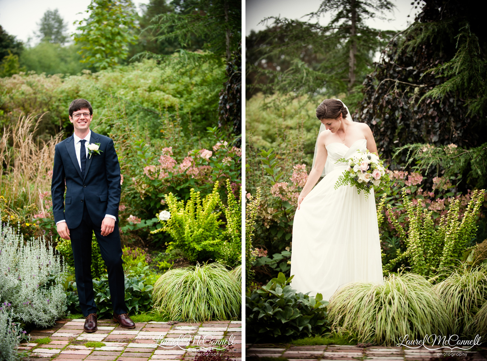 Relaxed bride and groom portraits Seattle wedding photographer.