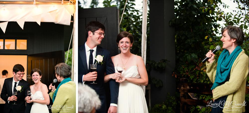 Urban farm wedding reception Vashon Island.