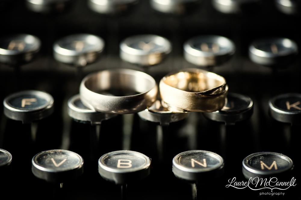 Urban farm Vashon Island wedding typewriter ring shot.