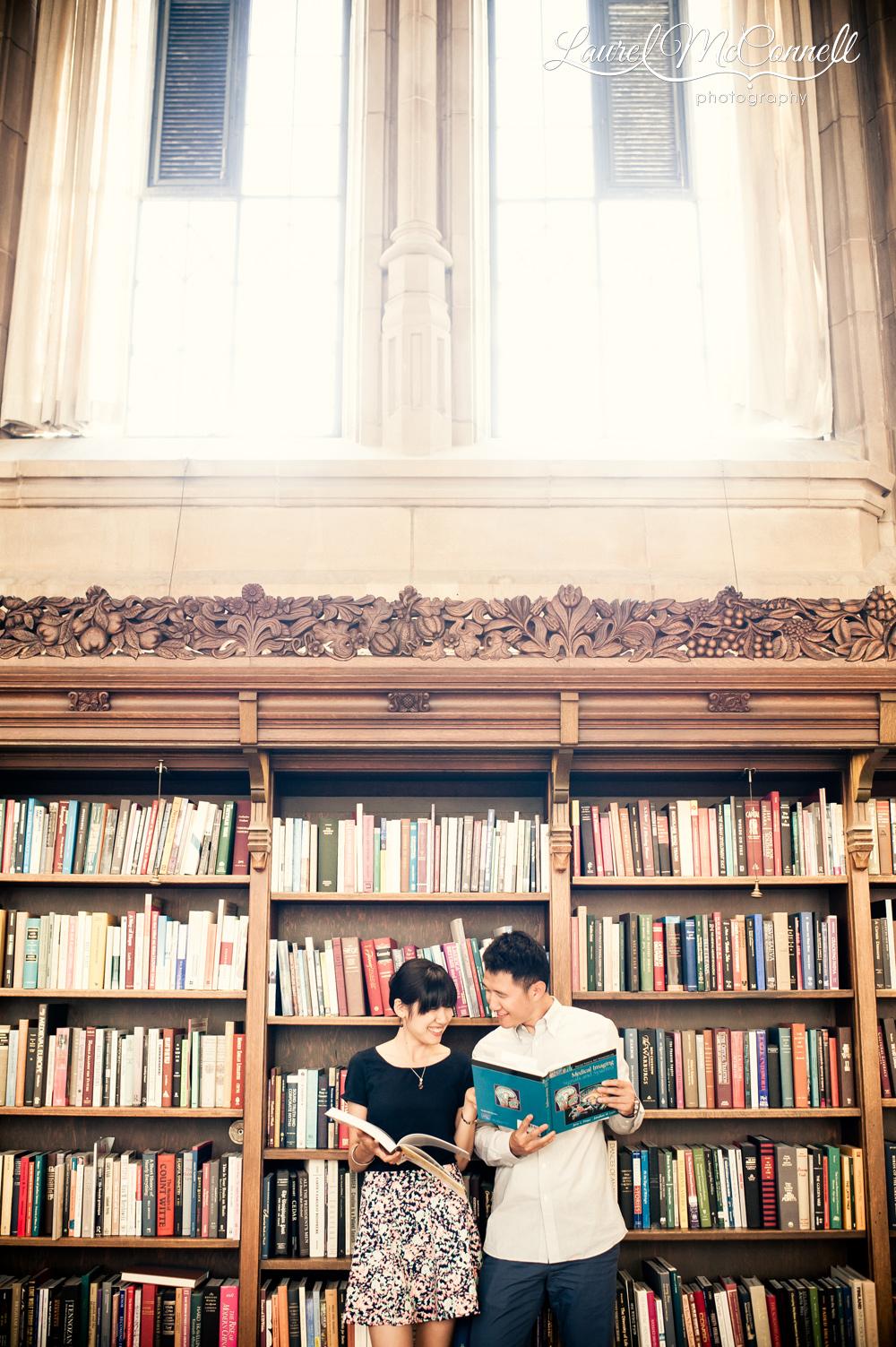 Engagement session in University of Washington library.