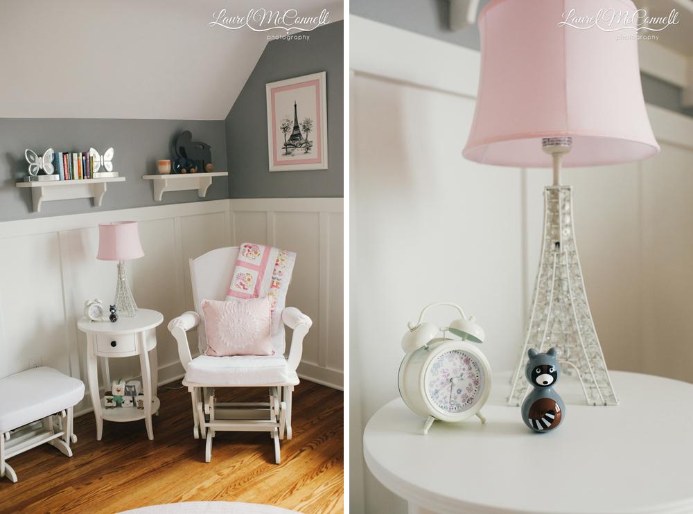 Pink and grey modern nursery portrait session backdrop.