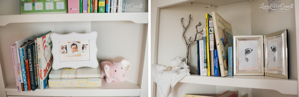 Pink and grey nursery details.