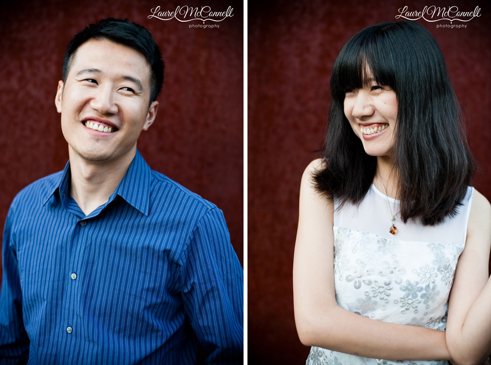 Individual portraits during engagement session of bride and groom.