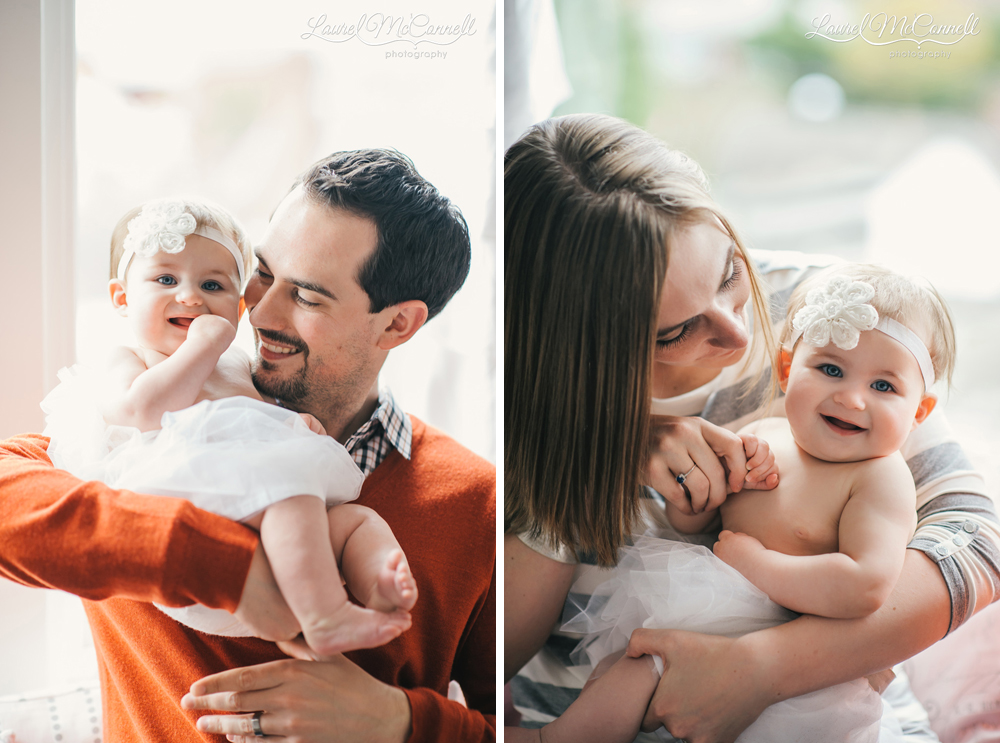Portraits of baby with parents in Seattle.