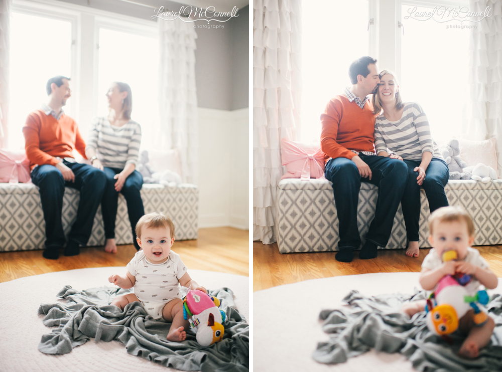 Fun family portraits with baby in Seattle.