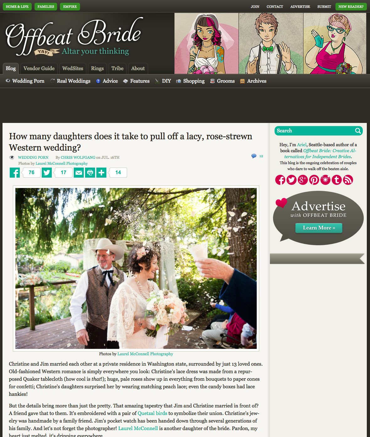 Laurel McConnell Photography wedding feature on Offbeat Bride.