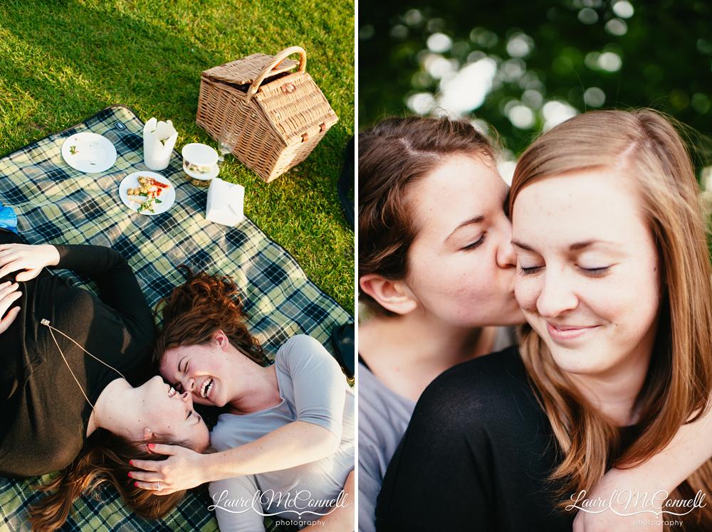Fun engagement picnic photography.