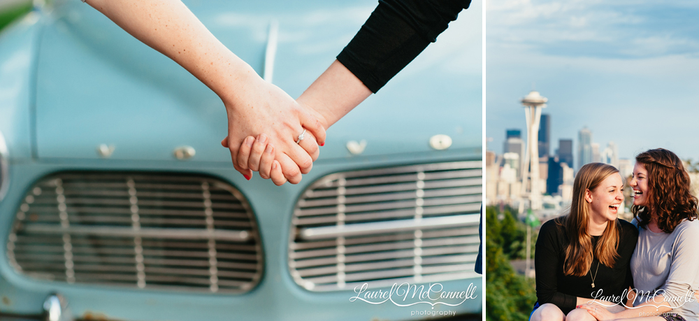 Fun engagement portraits at Seattle's Kerry Park.