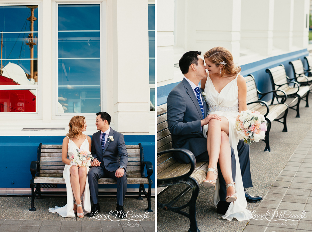 Wedding portraits at the MOHAI, Seattle's Museum of History and Industry on South Lake Union by Laurel McConnell Photography.
